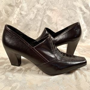 Franco  Sarto Brown Leather Heeled Loafers